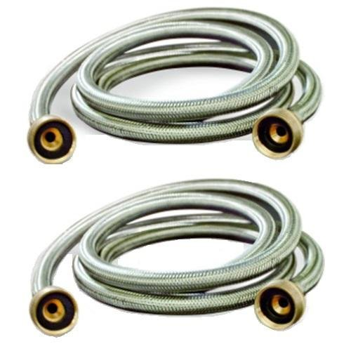 washing machine hoses burst proof 6 ft stainless steel braided 2 pack small appliance parts. Black Bedroom Furniture Sets. Home Design Ideas